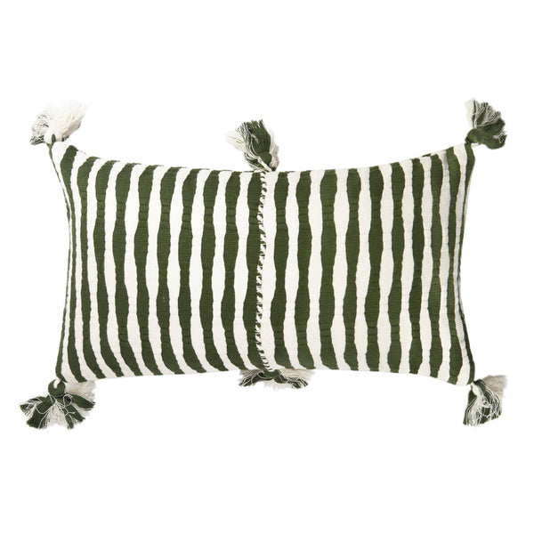 Backordered: Antigua Pillow - Olive Stripe