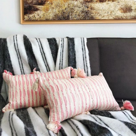 Antigua Pillow- Faded Pink Stripe