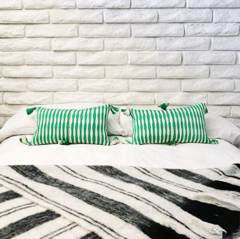 Antigua Pillow - Kelly Green Stripe