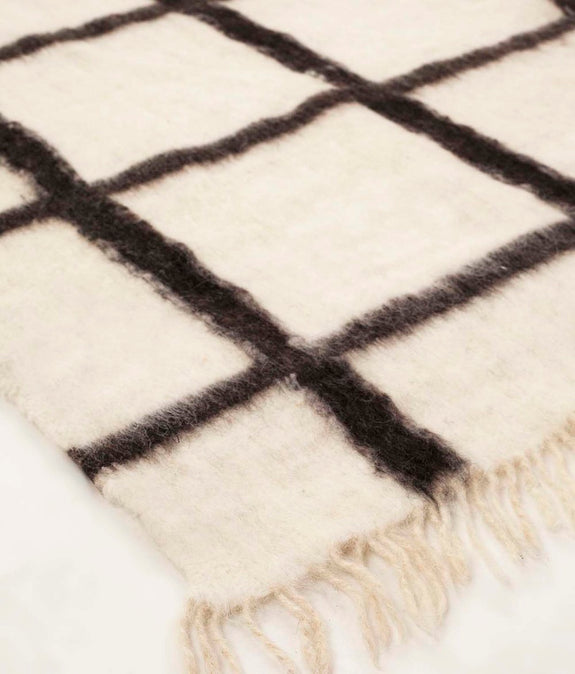 Momos Grid Blanket-Rug - Natural White & Black