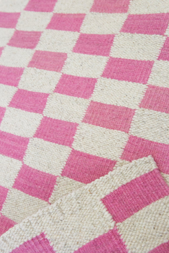 Zapotec Checkered Rug in Pink & Ivory