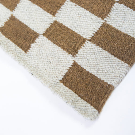 Pre-order: Zapotec Checkered Rug in Umber & Ivory