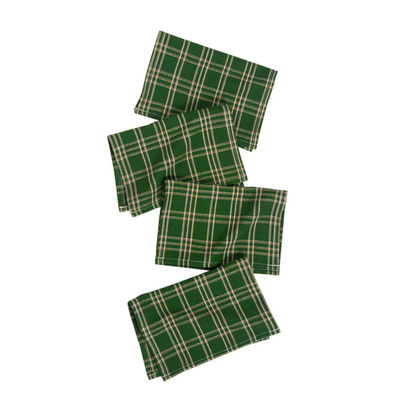 Chiapas Plaid Forest Green Cocktail Napkins Set of 4