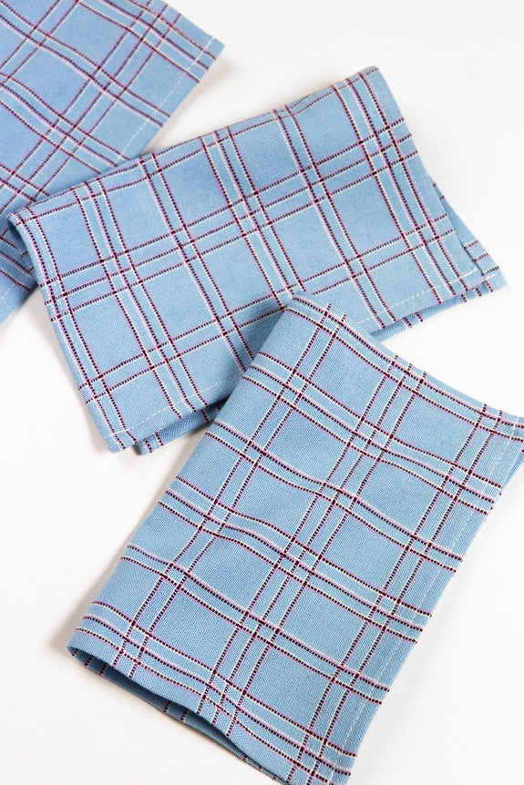 Chiapas Plaid Light Blue Cocktail Napkins Set of 4