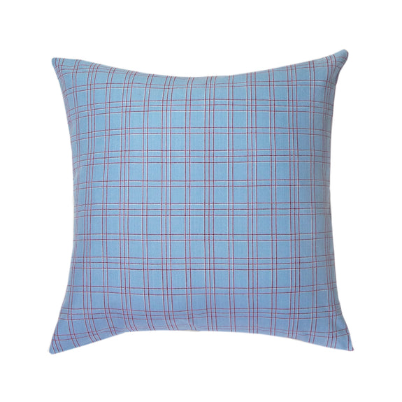 "Chiapas Plaid Light Blue Pillow 20"" x 20"""