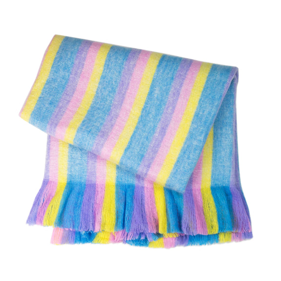 Fuzzy Blanket - Blue Rainbow