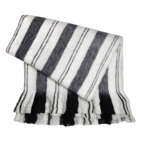 Fuzzy Blanket - Grey + Black + White