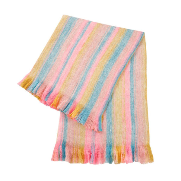 Fuzzy Blanket - Rainbow Stripe