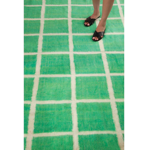 Momos Grid Blanket-Rug - Natural White & Green
