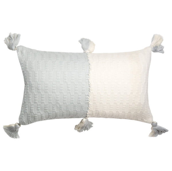 Antigua Pillow - Grey & Natural White Colorblocked