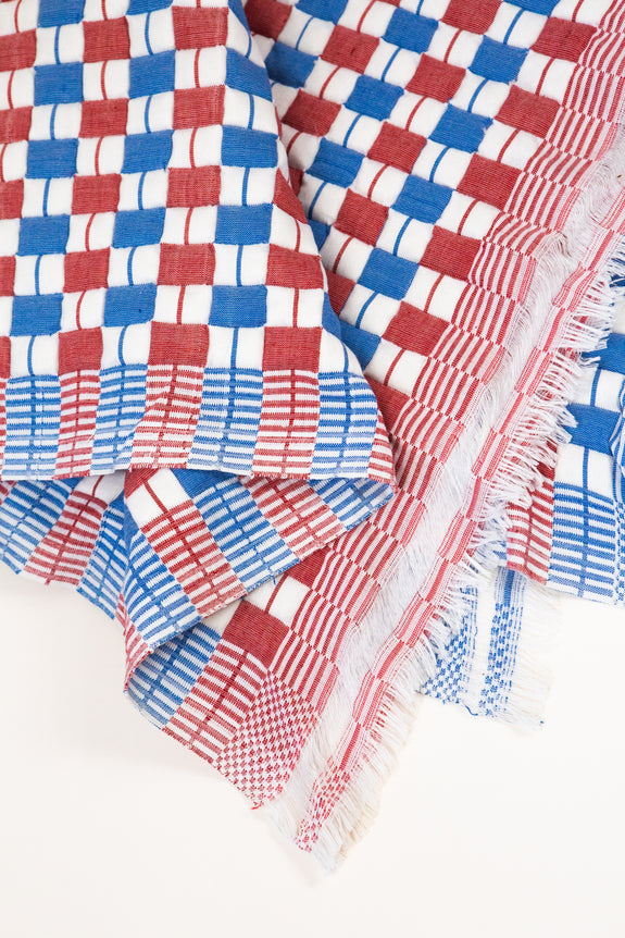 Quilted Suzani Throw Blanket - Red & Blue