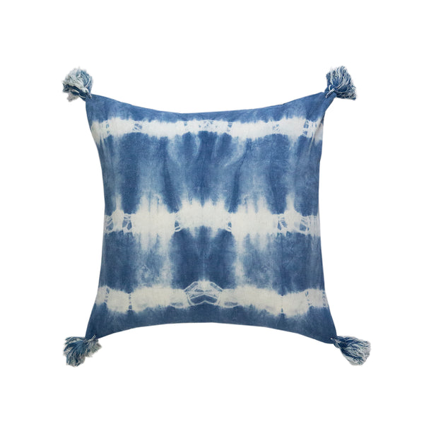 "Indigo Striped Shibori Tassel Lumbar Pillow 17"" x 17"""