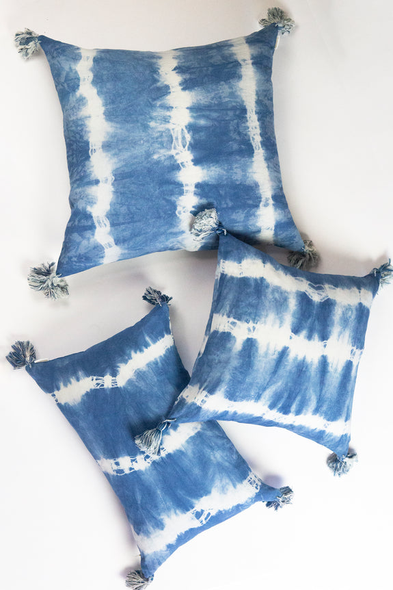 "Indigo Striped Shibori Tassel Lumbar Pillow 12"" x 20"""