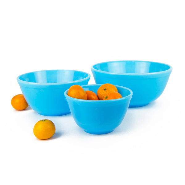Blue Milk Glass Mixing Bowls - Set of 3