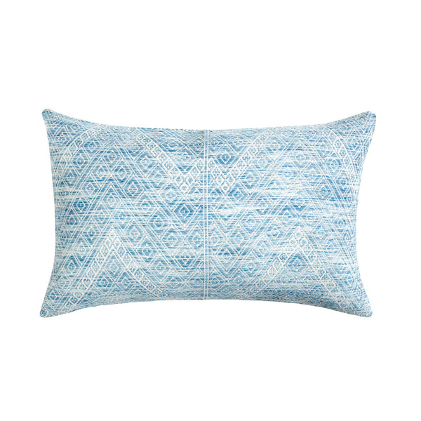 "Nahuala Faded Indigo Brocade Pillow - 12""x20"""