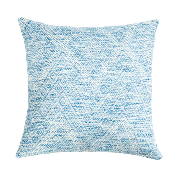 "Nahuala Faded Indigo Brocade Pillow - 20""x20"""