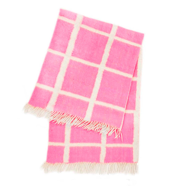 Momos Grid Blanket-Rug - Natural White & Neon Pink
