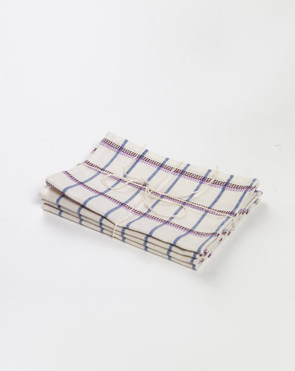 Backordered: San Lucas Plaid White Cocktail Napkins Set of 4