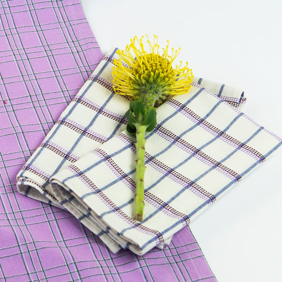 San Lucas Plaid White Napkin