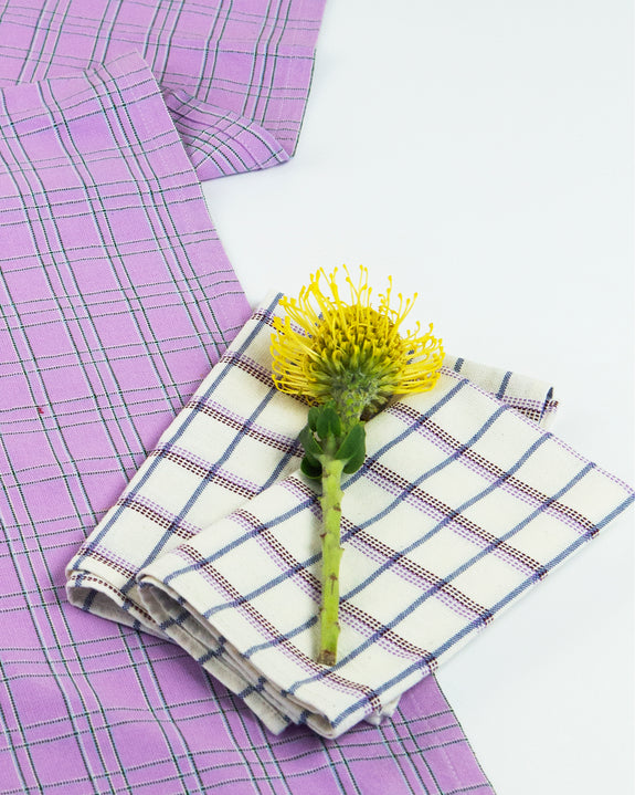 Chiapas Plaid Lilac Table Runner