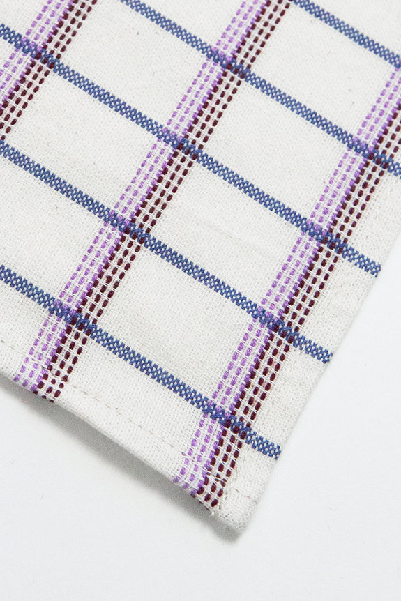 San Lucas Plaid White Table Runner