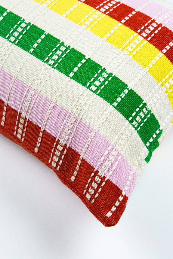 "Santiago Rainbow Grid Pillow - 12"" x 20"""