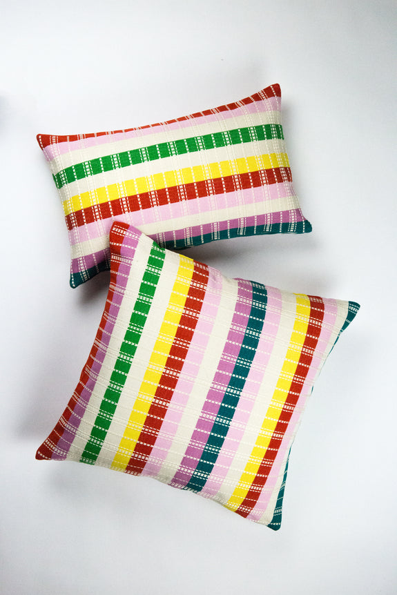 "Santiago Rainbow Grid Pillow - 18""x18"""