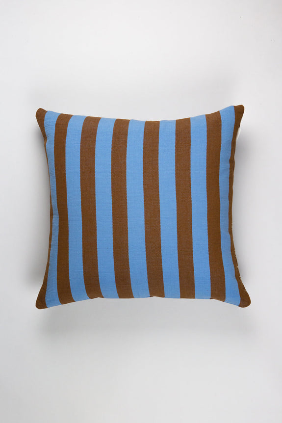 "Santiago Grid Pillow - Blue & Umber - 18""x18"""