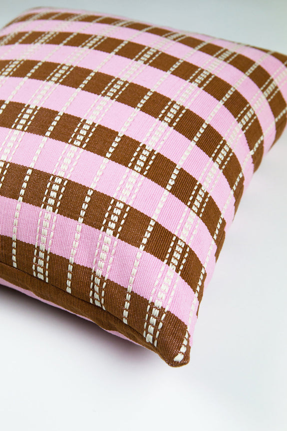 "Backordered: Santiago Grid Pillow - Baby Pink & Umber - 18""x18"""