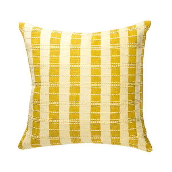 "Backordered: Santiago Grid Pillow - Butter - 18""x18"""