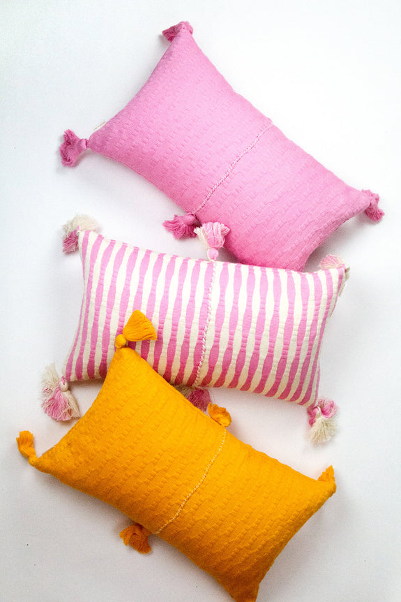 Antigua Pillow - Bubblegum Pink Striped