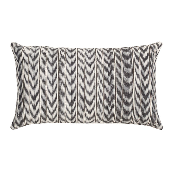 "Made to Order: Toto Grey Ikat Pillow - 12""x20"""