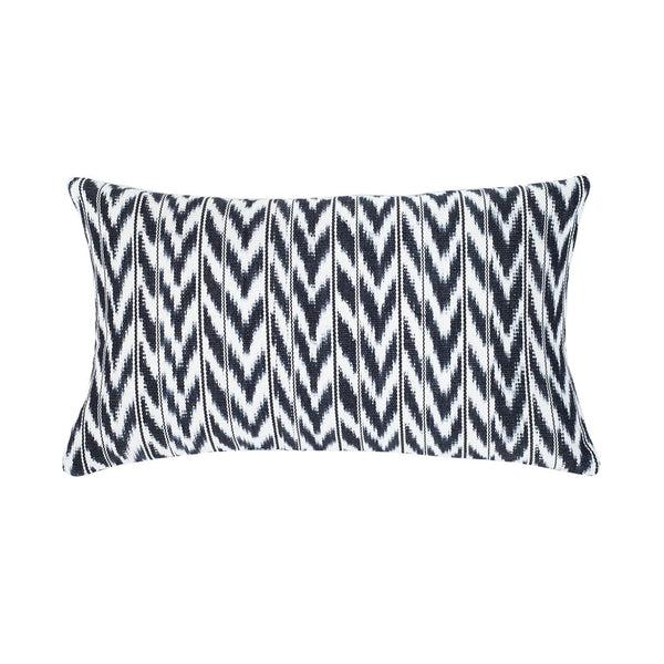"Toto Black + White Ikat Pillow - 12"" x 20"""