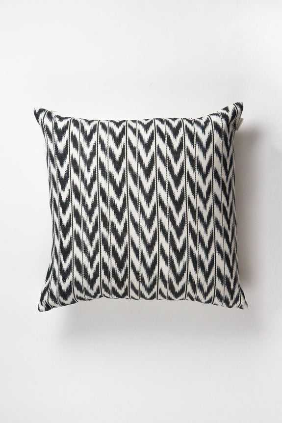 "Toto Black + White Ikat Pillow - 18"" x 18"""