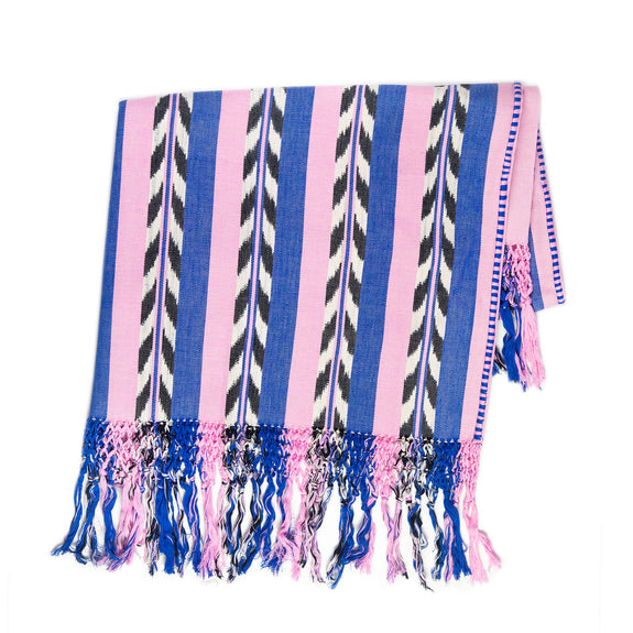 Palm Ikat Blanket in Blue & Pink