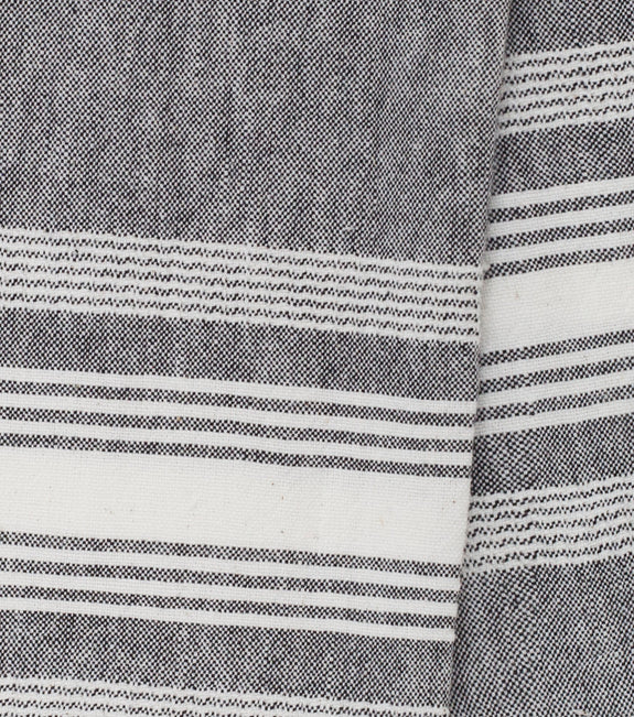 Grey Chambray Striped Kitchen Towel