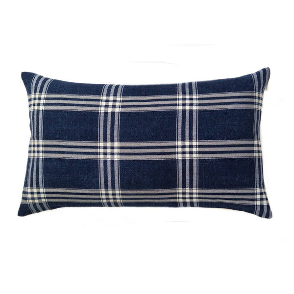 "Vintage Indigo Corte Plaid Pillow 12""x20"""