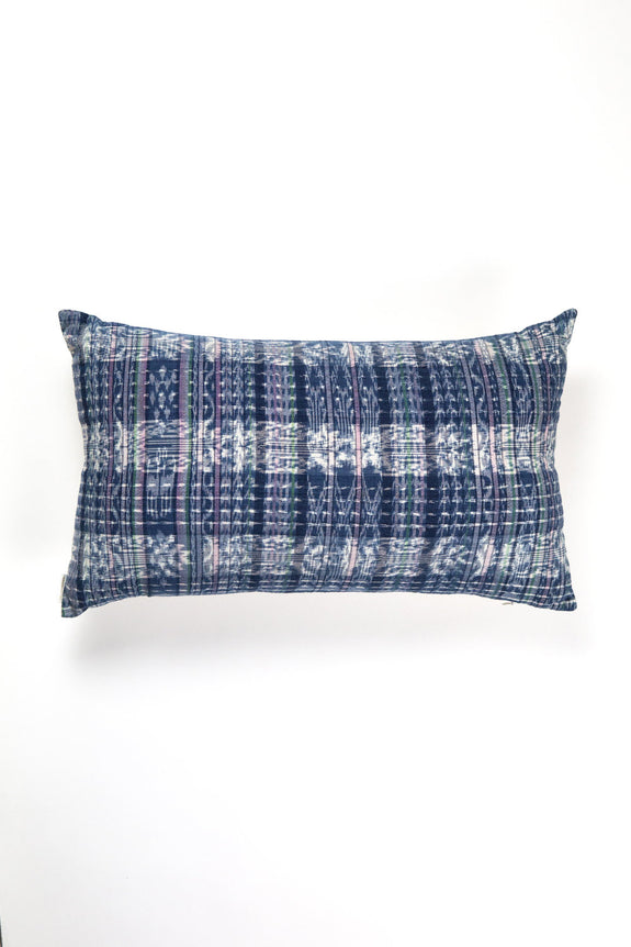 "Vintage Indigo Plaid Corte Pillow 12""x20"""