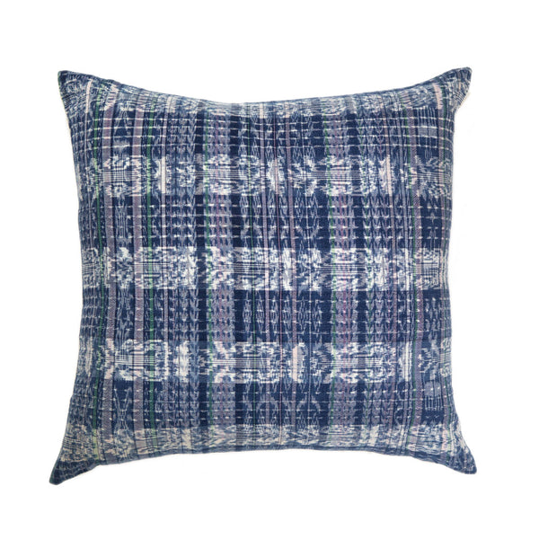 "Vintage Indigo Plaid Corte Pillow 20""x20"""