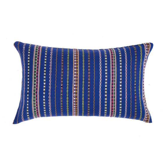 "Vintage Royal Blue Wool Pillow - Zunil 12""x20"""