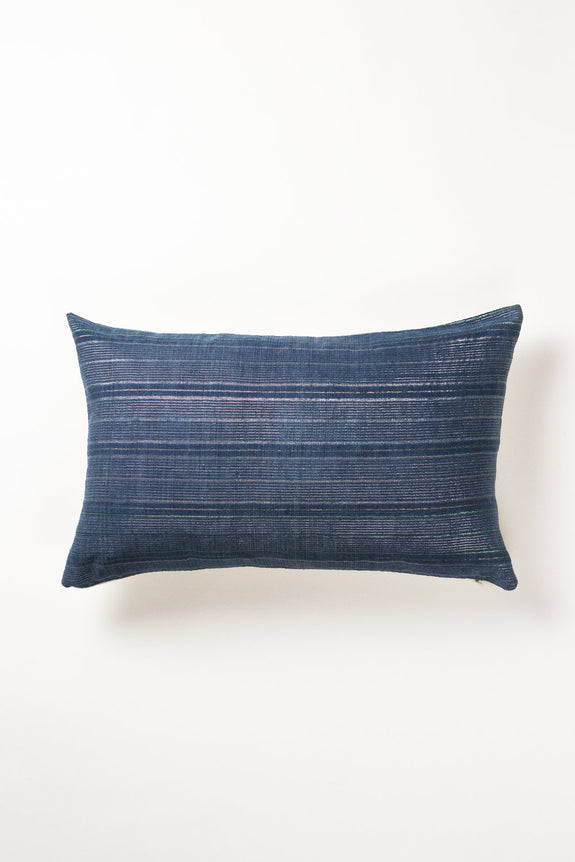"Vintage Indigo & Metallic Silver Stripe Pillow 12""x20"""