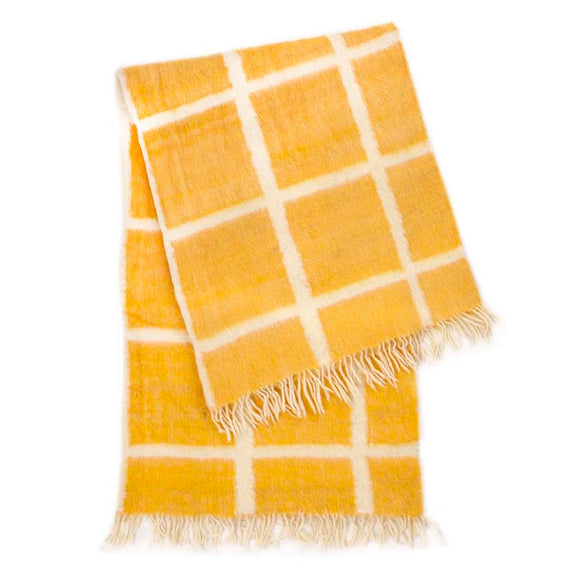 Momos Grid Blanket-Rug - Natural White & Yellow Gold