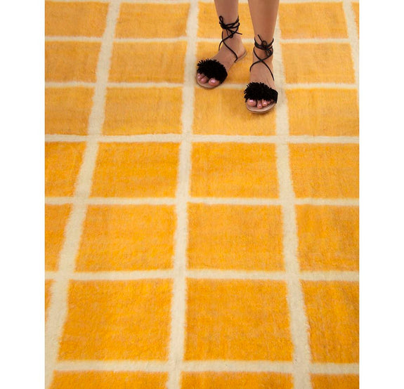 Momos Grid Blanket- Natural White & Yellow Gold