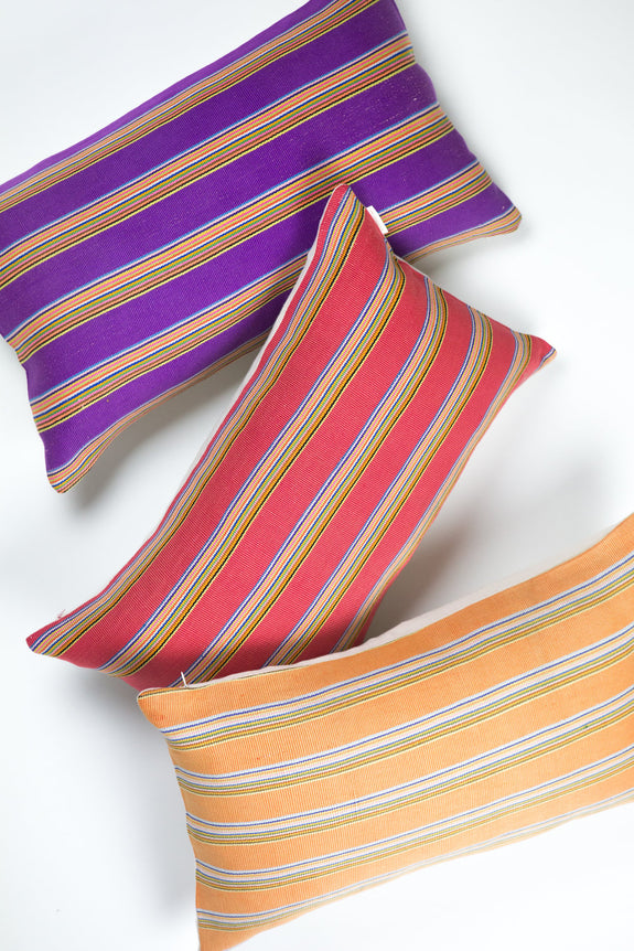 "Zacualpa Purple Rainbow Pillow 12""x20"""