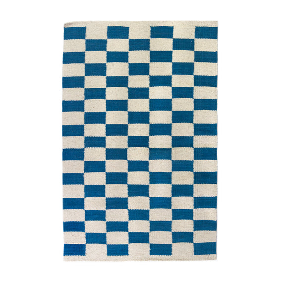Pre-order: Zapotec Checkered Rug in Blue & Ivory