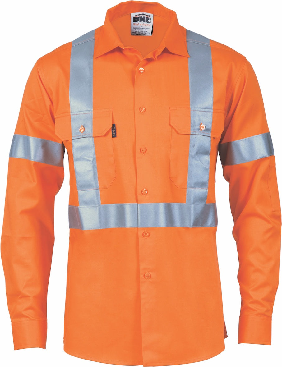 DNC - 3746 Hi Vis Cool Breeze Cotton Shirt with X Back and Additional 3M Tape on Tail Long Sleeve