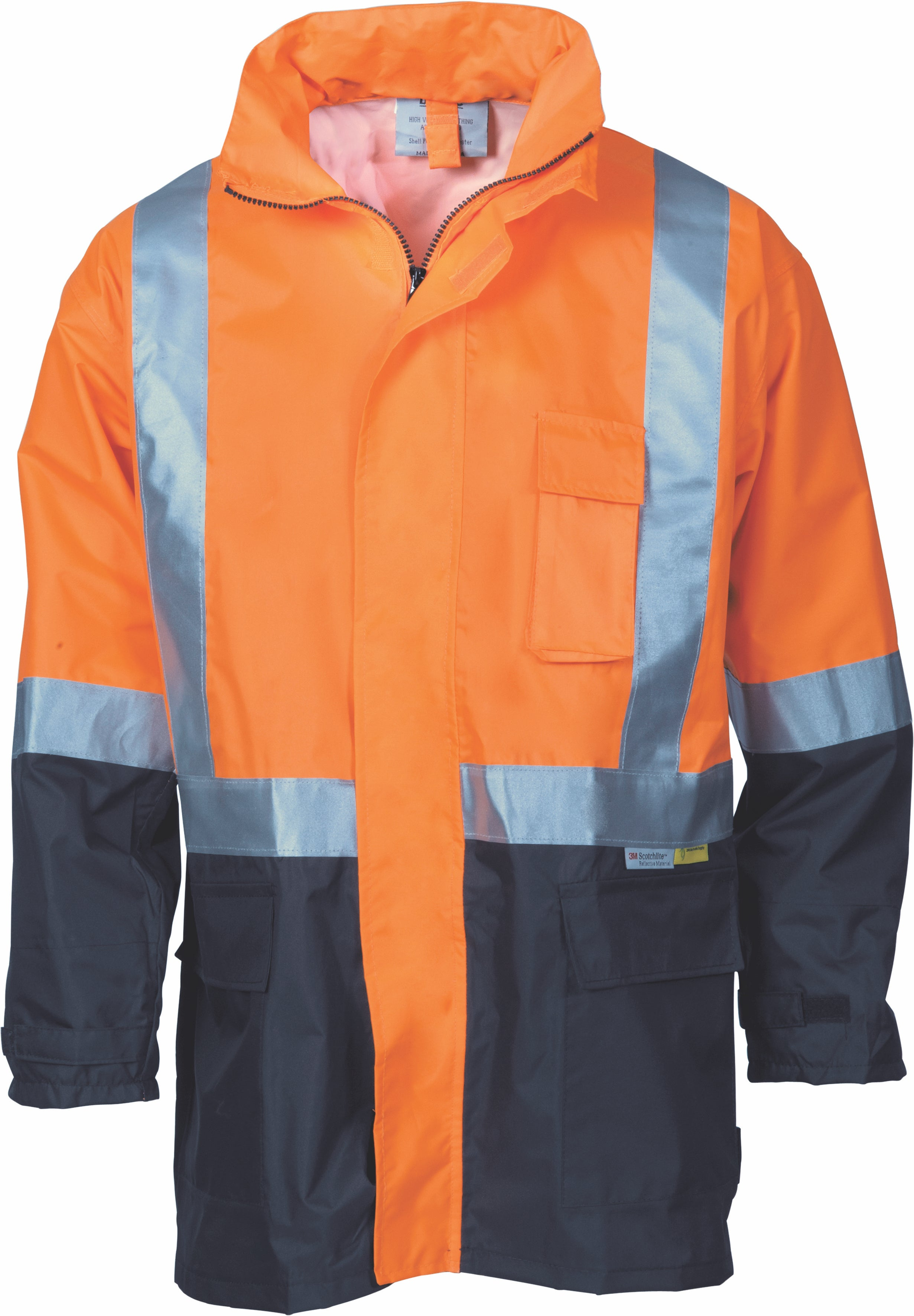 DNC - 3879  Hi Vis Two Tone Light Weight Rain Jacket with 3M Tape