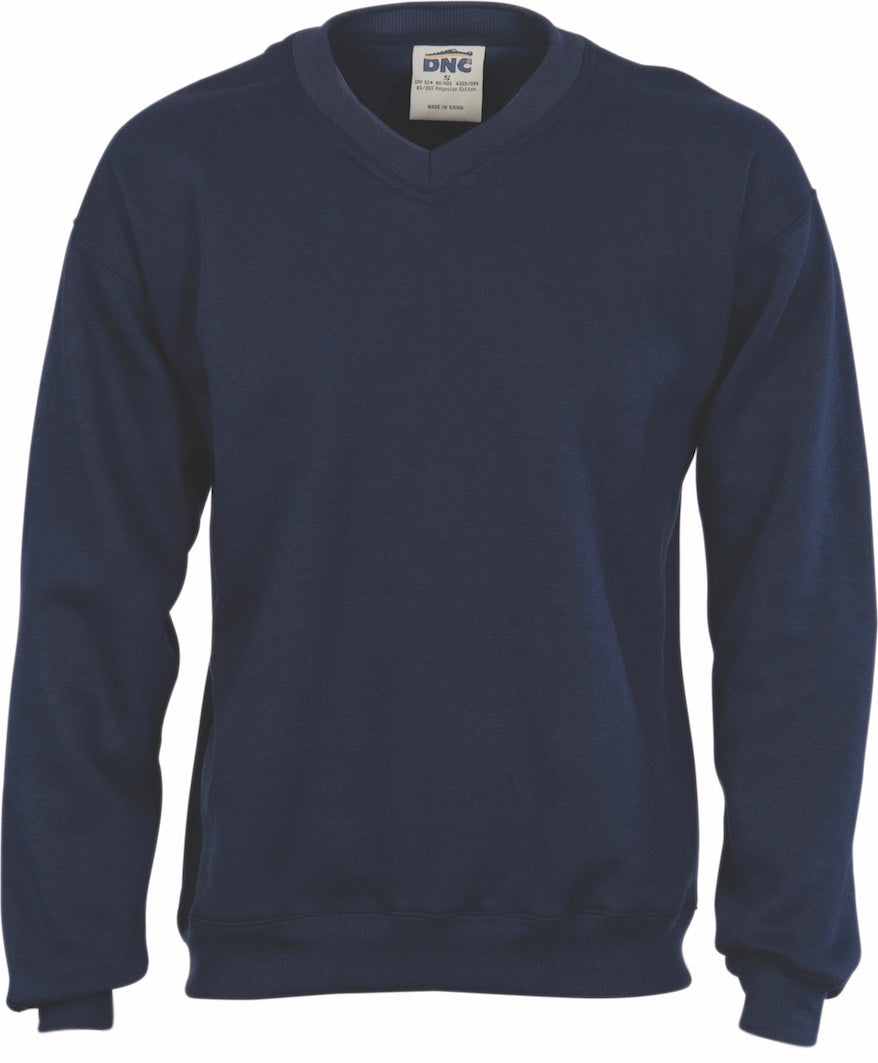 DNC - 5301 Navy Fleecy V-Neck Sweater