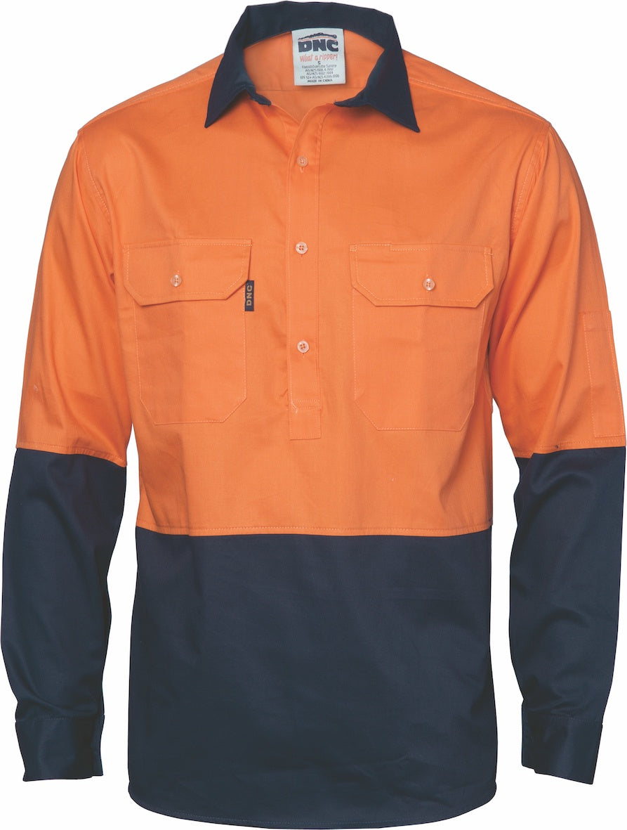DNC -3934  Hi Vis Light Weight Cotton Long Sleeve Close Front Shirt