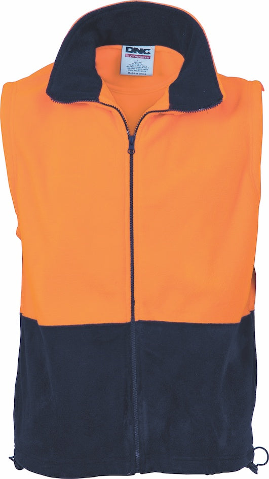 DNC - 3828  Hi Vis Two Tone Fleecy Vest with Full Zip